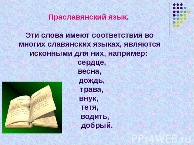 Праславянский язык. Эти слова имеют соответствия во многих славянских языках, являются исконными для них, например: сердце, весна, дождь, трава,внук, тетя, водить, добрый.