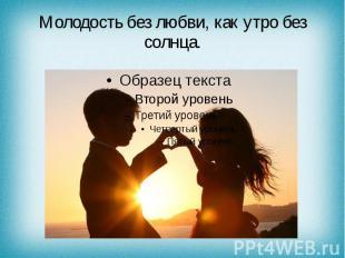 Молодость без любви, как утро без солнца.