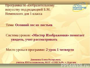Программа по изобразительному искусству под редакцией Б.М. Неменского для 1 клас