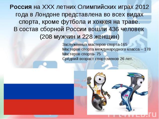 Россия на ХХХ летних Олимпийских играх 2012 года в Лондоне представлена во всех видах спорта, кроме футбола и хоккея на траве.В состав сборной России вошли 436 человек (208 мужчин и 228 женщин)Заслуженных мастеров спорта-165Мастеров спорта междунаро…