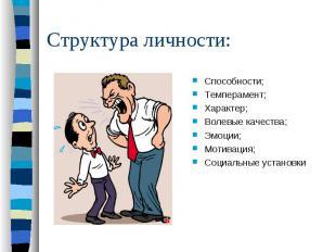 Структура личности:Способности;Темперамент;Характер;Волевые качества;Эмоции;Моти