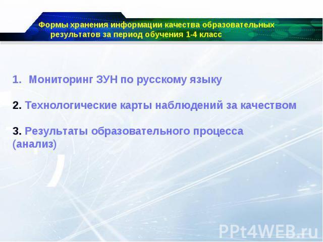 Формы хранения информации качества образовательных результатов за период обучения 1-4 классМониторинг ЗУН по русскому языку2. Технологические карты наблюдений за качеством 3. Результаты образовательного процесса(анализ)