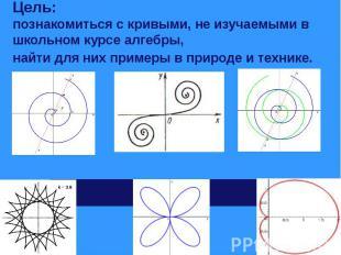 Цель: познакомиться с кривыми, не изучаемыми в школьном курсе алгебры,найти для