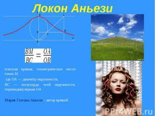 Локон Аньези плоская кривая, геометрическое место точек M, где OA — диаметр окру