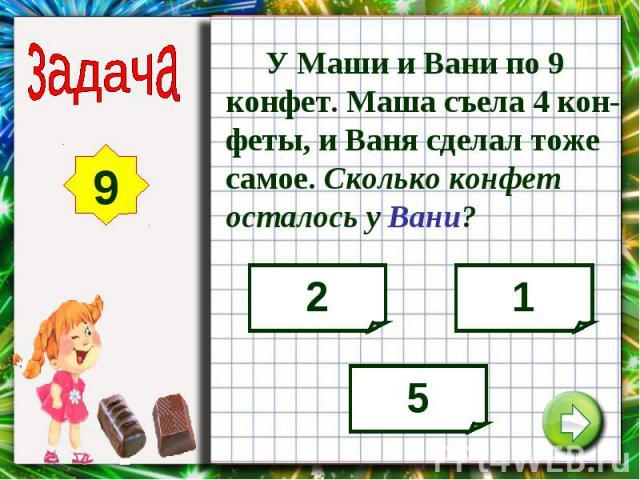 У Маши и Вани по 9 конфет. Маша съела 4 кон-феты, и Ваня сделал тоже самое. Сколько конфет осталось у Вани?