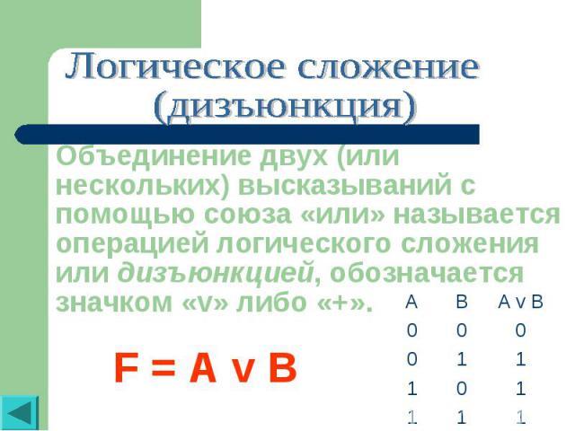 Логическое сложение (дизъюнкция)Объединение двух (или нескольких) высказываний с помощью союза «или» называется операцией логического сложения или дизъюнкцией, обозначается значком «v» либо «+». F = A v B