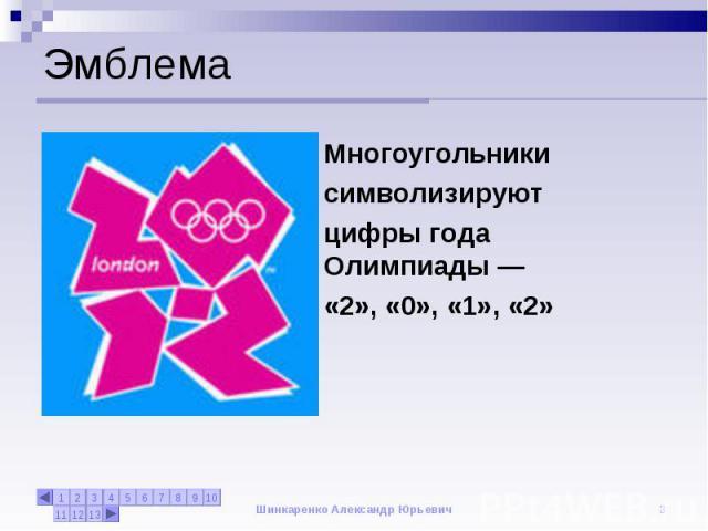 Эмблема Многоугольники символизируютцифры года Олимпиады— «2», «0», «1», «2»