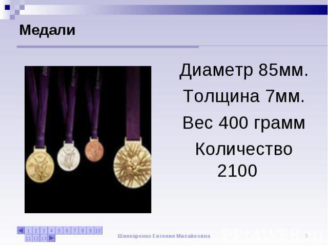 Медали Диаметр 85мм.Толщина 7мм.Вес 400 граммКоличество 2100
