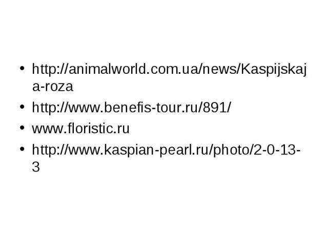 http://animalworld.com.ua/news/Kaspijskaja-rozahttp://www.benefis-tour.ru/891/www.floristic.ruhttp://www.kaspian-pearl.ru/photo/2-0-13-3