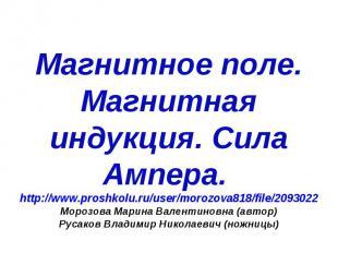 Магнитное поле. Магнитная индукция. Сила Ампера. http://www.proshkolu.ru/user/mo