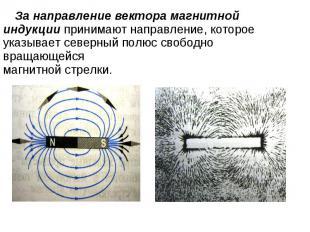 За направление вектора магнитной индукции принимают направление, которое указыва
