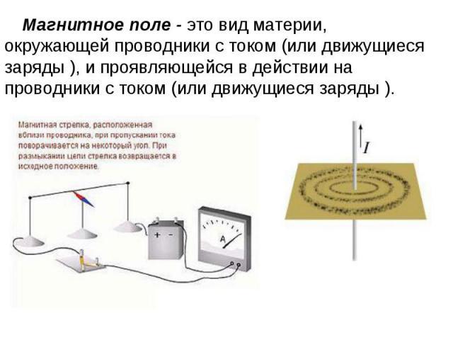 Магнитное поле - это вид материи, окружающей проводники с током (или движущиеся заряды ), и проявляющейся в действии на проводники с током (или движущиеся заряды ).