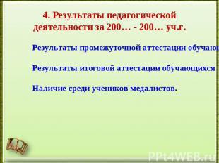 4. Результаты педагогической деятельности за 200… - 200… уч.г.Результаты промежу