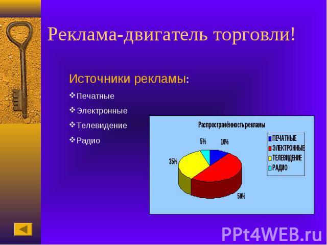 Реклама-двигатель торговли!Источники рекламы:ПечатныеЭлектронныеТелевидениеРадио