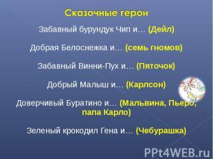 Сказочные героиЗабавный бурундук Чип и… (Дейл)Добрая Белоснежка и… (семь гномов)