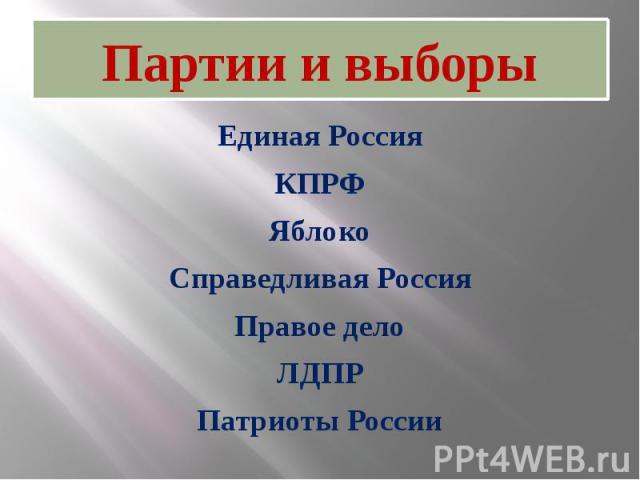 Партии и выборыЕдиная РоссияКПРФЯблокоСправедливая РоссияПравое делоЛДПРПатриоты России