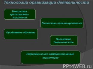 Технологии организации деятельности
