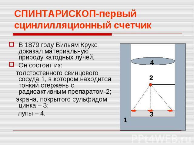 СПИНТАРИСКОП-первый сцинлилляционный счетчикВ 1879 году Вильям Крукс доказал материальную природу катодных лучей.Он состоит из: толстостенного свинцового сосуда 1, в котором находится тонкий стержень с радиоактивным препаратом-2; экрана, покрытого с…