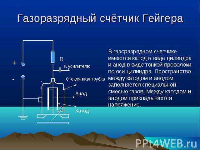 Газоразрядный счётчик ГейгераВ газоразрядном счетчике имеются катод в виде цилиндра и анод в виде тонкой проволоки по оси цилиндра. Пространство между катодом и анодом заполняется специальной смесью газов. Между катодом и анодом прикладывается напряжение.
