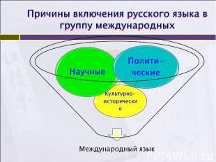 Причины включения русского языка в группу международных