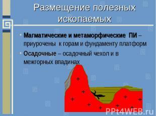 Размещение полезных ископаемыхМагматические и метаморфические ПИ – приурочены к