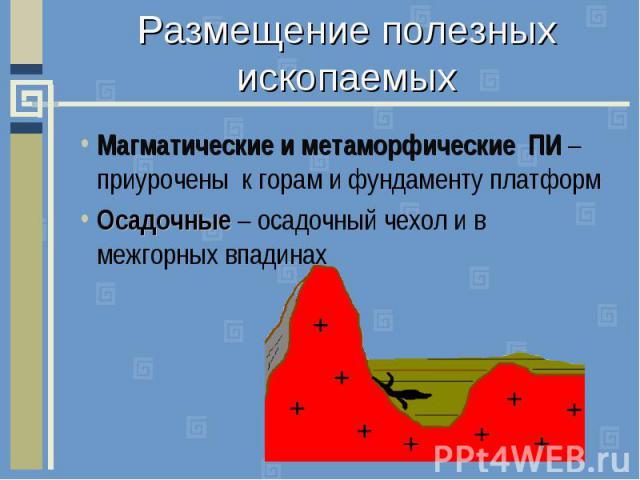 Размещение полезных ископаемыхМагматические и метаморфические ПИ – приурочены к горам и фундаменту платформОсадочные – осадочный чехол и в межгорных впадинах
