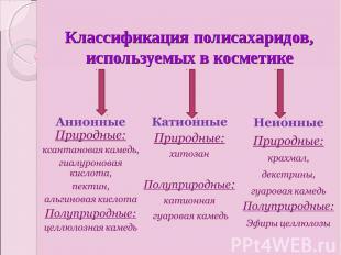 Классификация полисахаридов, используемых в косметикеАнионные Природные:ксантано