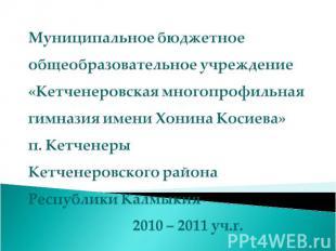 Муниципальное бюджетное общеобразовательное учреждение «Кетченеровская многопроф