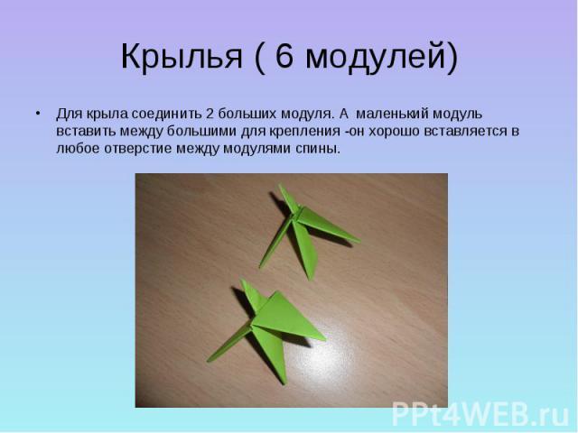 Крылья ( 6 модулей)Для крыла соединить 2 больших модуля. А маленький модуль вставить между большими для крепления -он хорошо вставляется в любое отверстие между модулями спины.