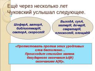 Ещё через несколько лет Чуковский услышал следующее.«Протестовать против этих ур
