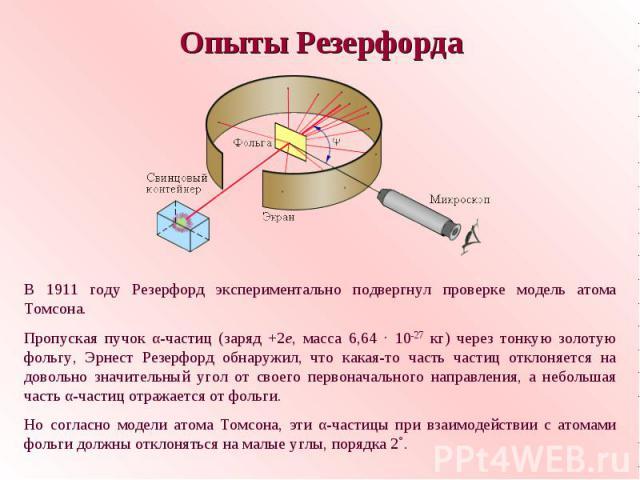 Опыты РезерфордаВ 1911 году Резерфорд экспериментально подвергнул проверке модель атома Томсона.Пропуская пучок α-частиц (заряд +2е, масса 6,64 · 10-27 кг) через тонкую золотую фольгу, Эрнест Резерфорд обнаружил, что какая-то часть частиц отклоняетс…