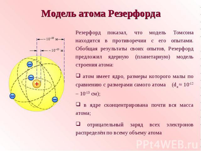 Модель атома РезерфордаРезерфорд показал, что модель Томсона находится в противоречии с его опытами. Обобщая результаты своих опытов, Резерфорд предложил ядерную (планетарную) модель строения атома: атом имеет ядро, размеры которого малы по сравнени…