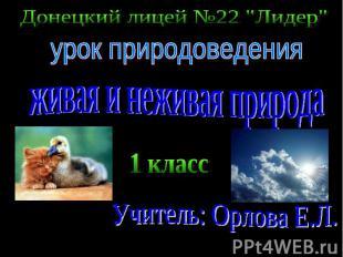 """Донецкий лицей №22 """"Лидер"""" урок природоведения живая и неживая природа 1 класс У"""