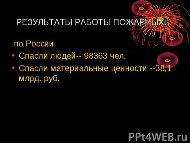 РЕЗУЛЬТАТЫ РАБОТЫ ПОЖАРНЫХ:по РоссииСпасли людей-- 98363 чел.Спасли материальные ценности --38,1 млрд. руб.