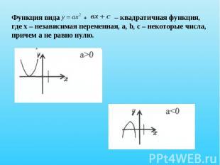 Функция вида + – квадратичная функция, где х – независимая переменная, a, b, c –