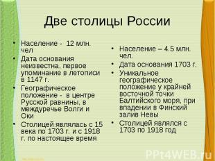 Две столицы РоссииНаселение - 12 млн. челДата основания неизвестна, первое упоми