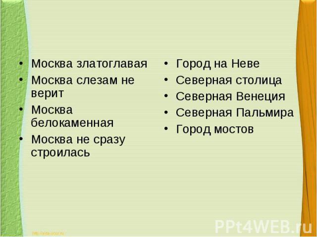 Москва златоглаваяМосква слезам не веритМосква белокаменнаяМосква не сразу строиласьГород на НевеСеверная столицаСеверная ВенецияСеверная ПальмираГород мостов