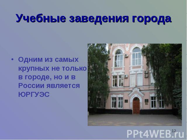 Учебные заведения городаОдним из самых крупных не только в городе, но и в России является ЮРГУЭС