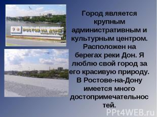 Город является крупным административным и культурным центром. Расположен на бере