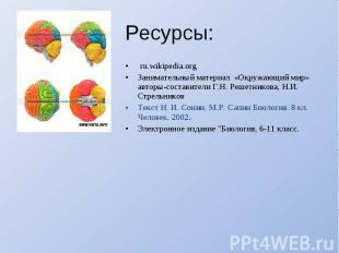 Ресурсы: ru.wikipedia.orgЗанимательный материал «Окружающий мир» авторы-составит