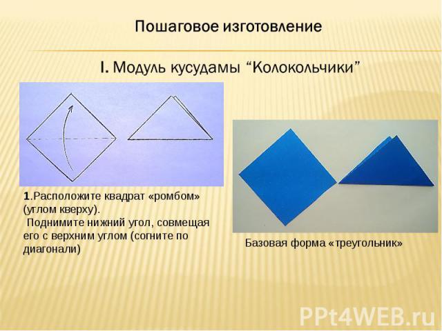 """Пошаговое изготовление I. Модуль кусудамы """"Колокольчики""""1.Расположите квадрат «ромбом» (углом кверху). Поднимите нижний угол, совмещая его с верхним углом (согните по диагонали)Базовая форма «треугольник»"""