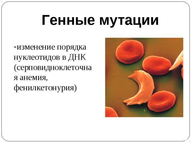 Генные мутацииизменение порядка нуклеотидов в ДНК(серповидноклеточная анемия, фенилкетонурия)