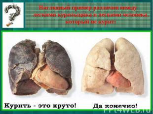 Наглядный пример различия между легкими курильщика и легкими человека, который н