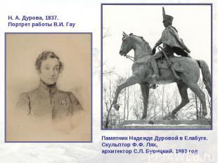 Н.А.Дурова, 1837. Портрет работы В.И. ГауПамятник Надежде Дуровой в Елабуге.Ск