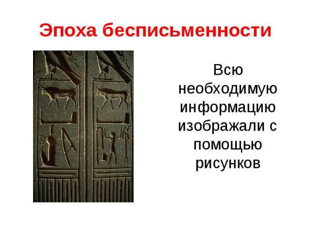 Эпоха бесписьменностиВсю необходимую информацию изображали с помощью рисунков