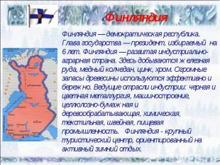 Финляндия — демократическая республика. Глава государства — президент, избираемы