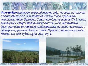 Финляндию называют страной тысячи озёр. Но здесь не тысяча, а более 180 тысяч! О