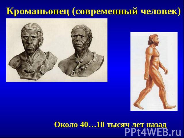 Кроманьонец (современный человек)Около 40…10 тысяч лет назад