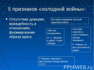 5 признаков «холодной войны»:Отсутствие доверия, враждебность в отношениях, форм