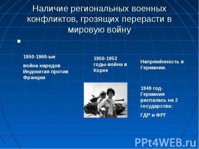 Наличие региональных военных конфликтов, грозящих перерасти в мировую войну1950-1960-ыевойна народов Индокитая против Франции1950-1953 годы-война в Корее1949 год-Германия распалась на 2 государства:ГДР и ФРГ